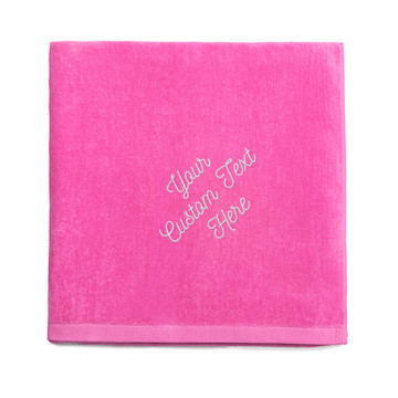 Create your own embroidered hot pink beach towel