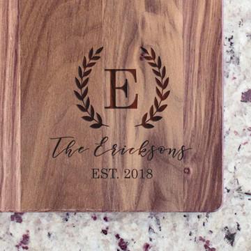 Family Name & Initial Walnut Cutting Board