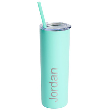 20 oz skinny tumbler personalized engraved with name teal