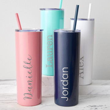 personalized skinny tumbler with straw & lid 20 oz