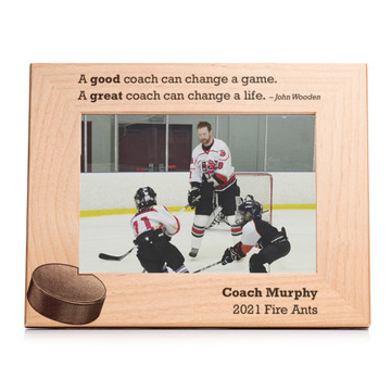 Personalized Hockey Coach Picture Frame Landscape