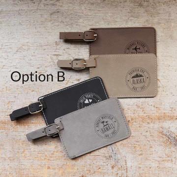 Bulk Personalized Destination Wedding Luggage Tag Favors Option B