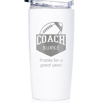 Football Coach Stainless Steel Tumbler White
