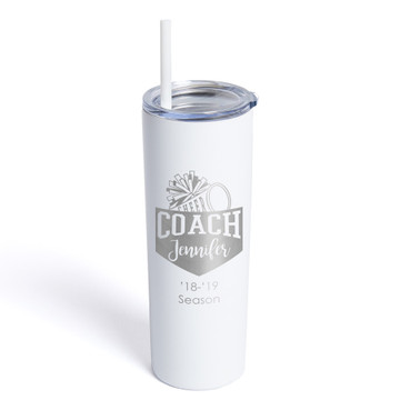 Personalized Cheerleading Coach Skinny White Tumbler With Straw