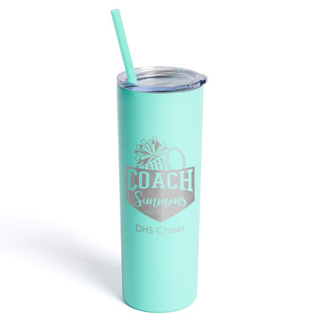 Personalized Cheerleading Coach Skinny Tumbler With Straw Mint