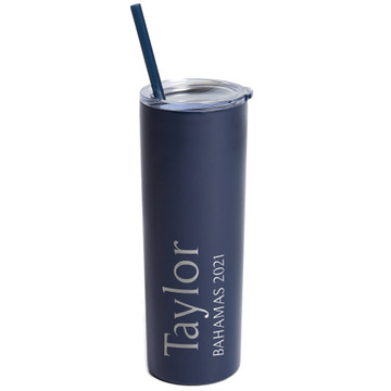 Personalized Navy Vacation Skinny Tumbler With Straw