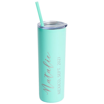 Personalized Mint Vacation Skinny Tumbler With Straw