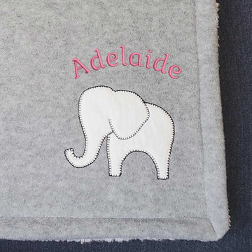 Personalized Sherpa Baby Blanket Closeup