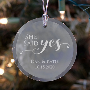 Personalized She Said Yes Ornament Lifestyle