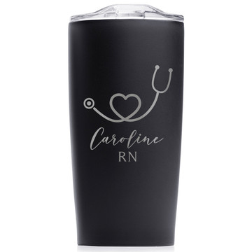 Personalized Nurse Stainless Steel Tumbler Black