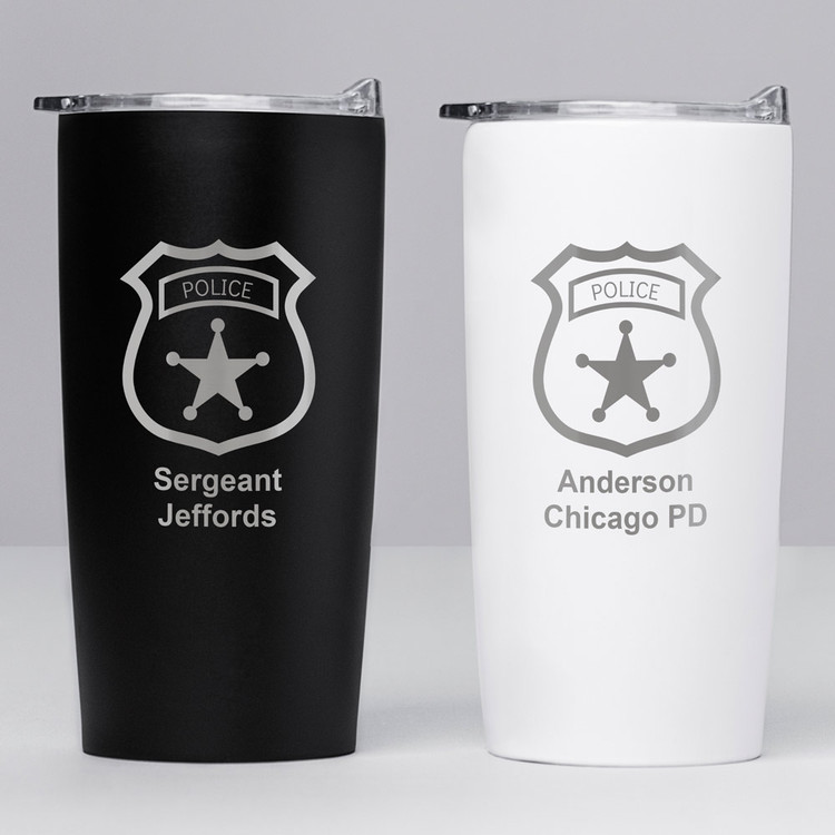 Personalized Police Officer Badge Stainless Steel Tumbler