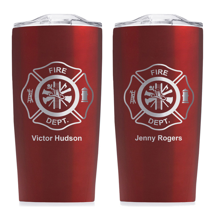 red personalized fire department tumbler gift