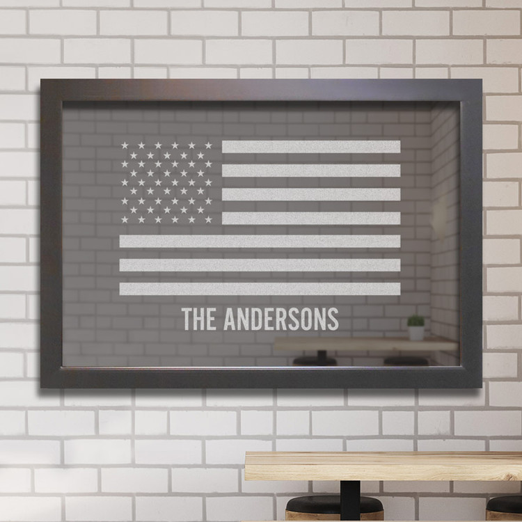 Custom Bar Mirror - Engraved  American Flag