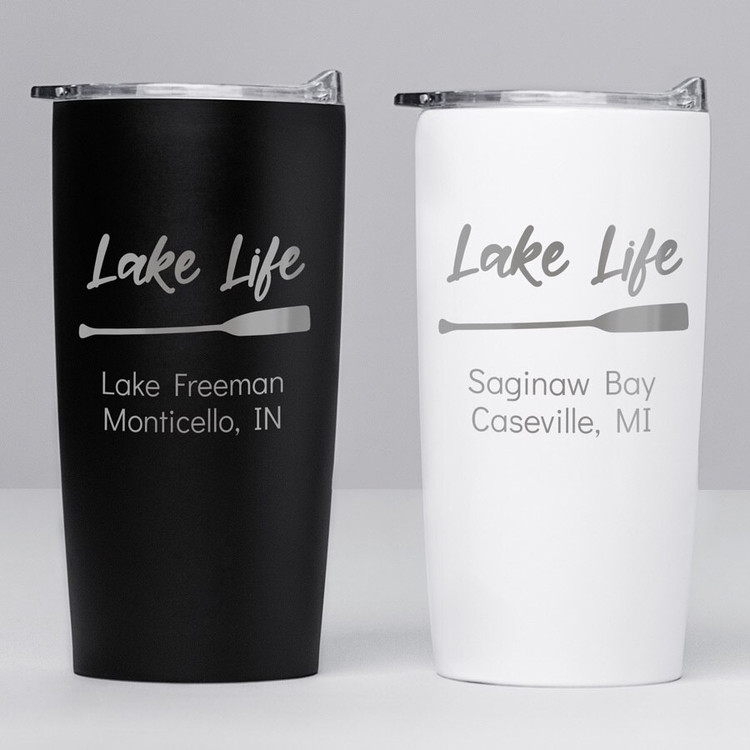 Personalized Lake Life Paddle Stainless Steel Tumbler