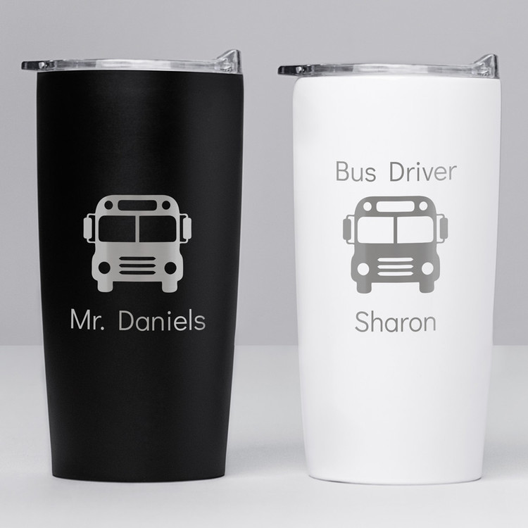personalized school bus tumbler coffee travel mug