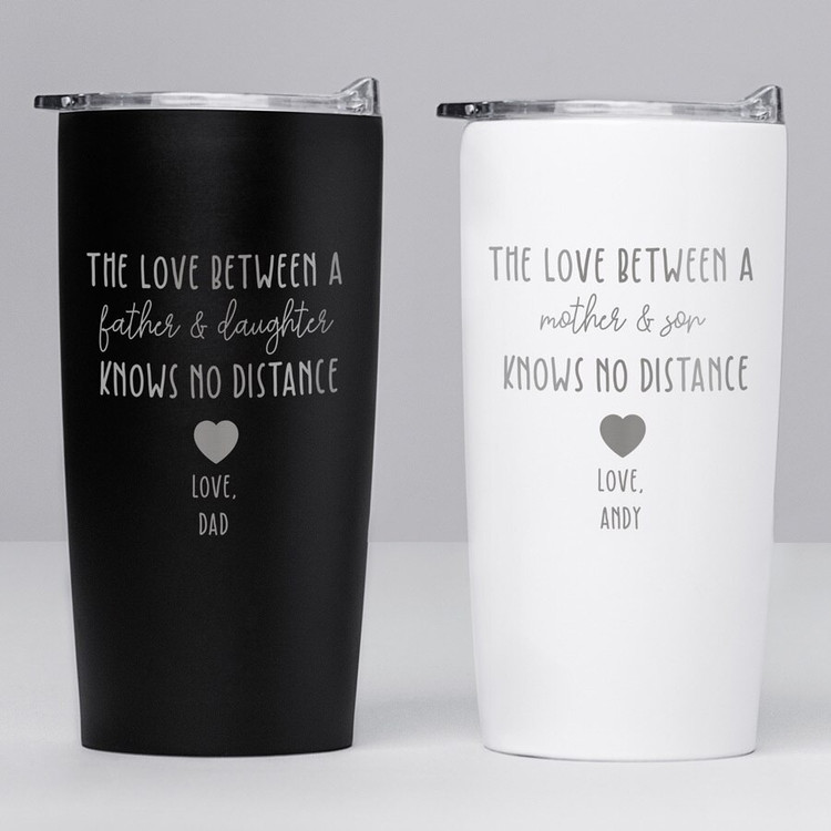 personalized long distance family tumbler gift, love knows no distance
