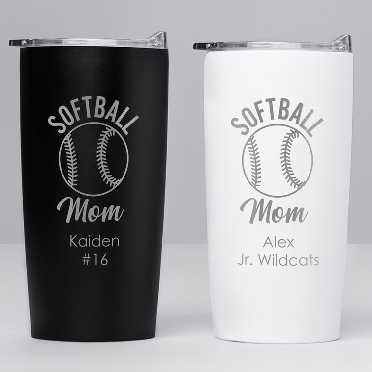 personalized softball mom tumbler