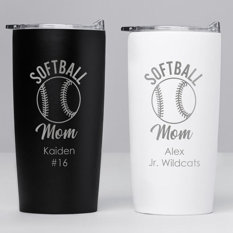 personalized softball mom tumbler