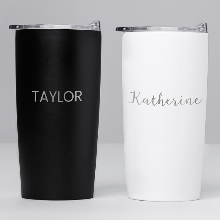 personalized tumbler with name engraved black & white