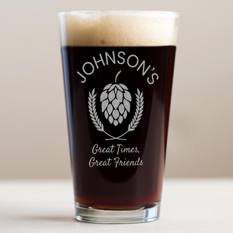personalized pint glass for home bar with last name
