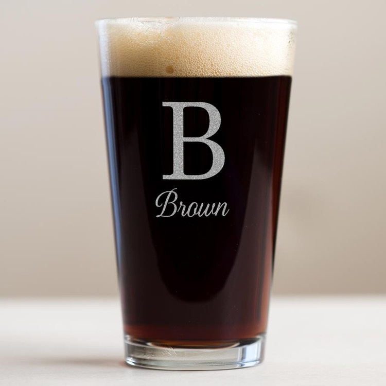 monogrammed pint beer glass