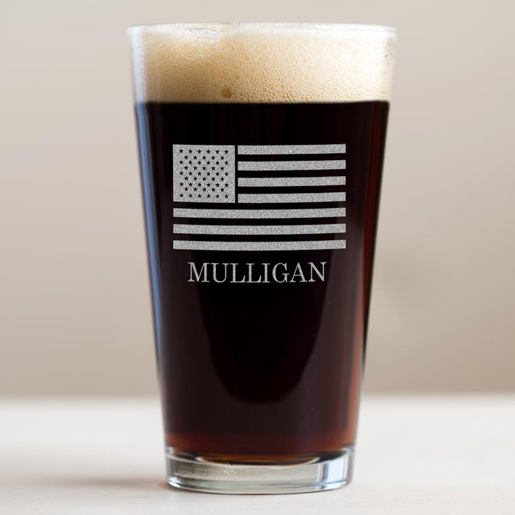 personalized american flag pint glass
