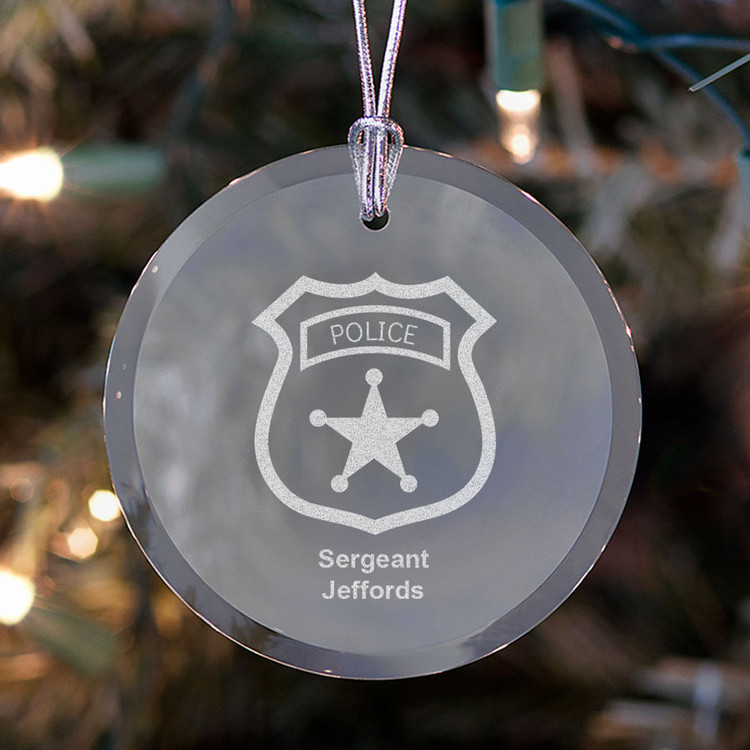 personalized police badge christmas ornament