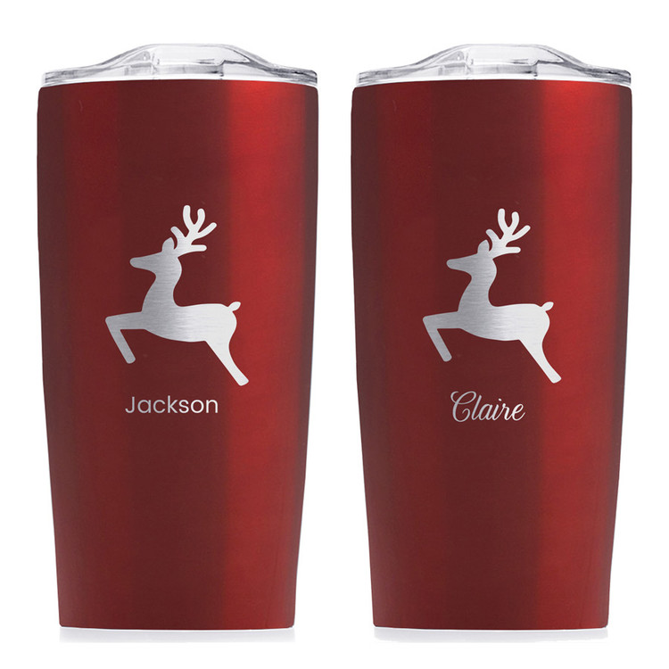 personalized reindeer christmas tumbler