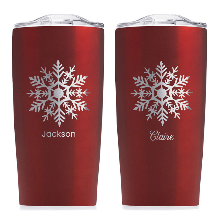 personalized snowflake red tumbler christmas holiday gift
