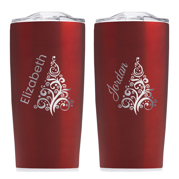 Personalized red christmas tree tumbler gift