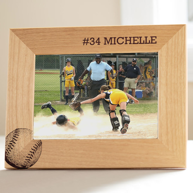 personalized softball picture frame gift
