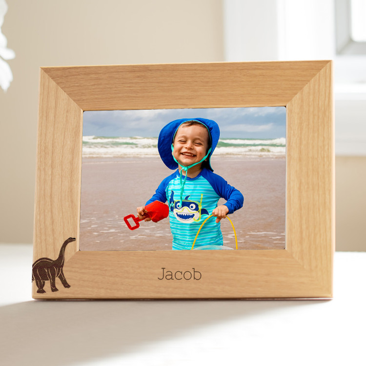 personalized dinosaur picture frame for young boys