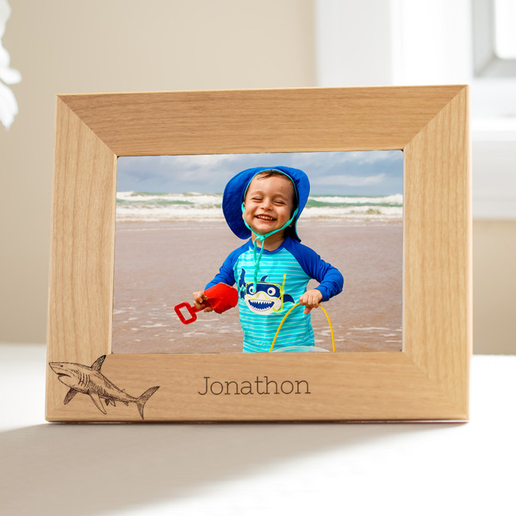 personalized shark picture frame for young boys