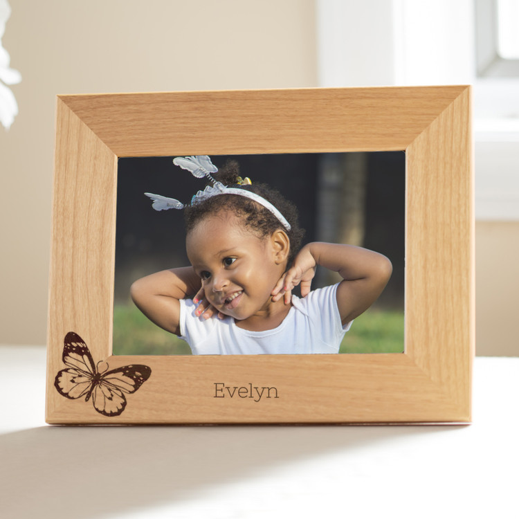 personalized butterfly picture frame for young girls