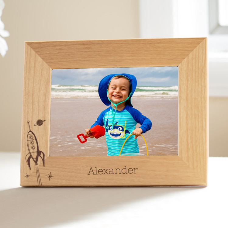 personalized spaceship picture frame for young boys