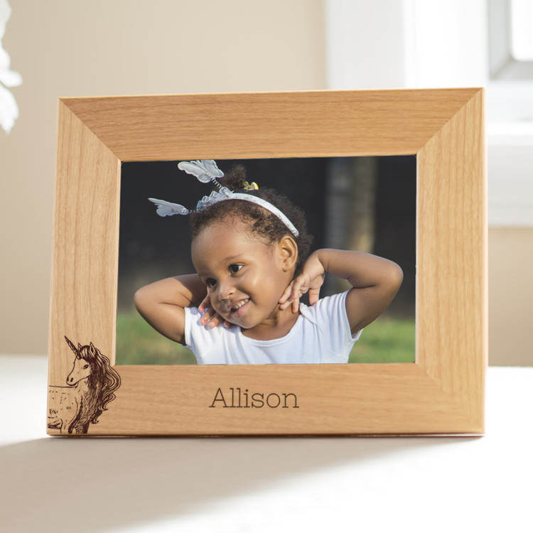 personalized unicorn picture frame for young girls