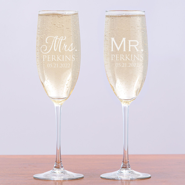 Engraved Personalized Mr and Mrs Champagne Glasses