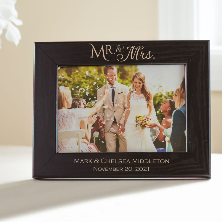 Personalized Mr. & Mrs. Picture Frame (Black)