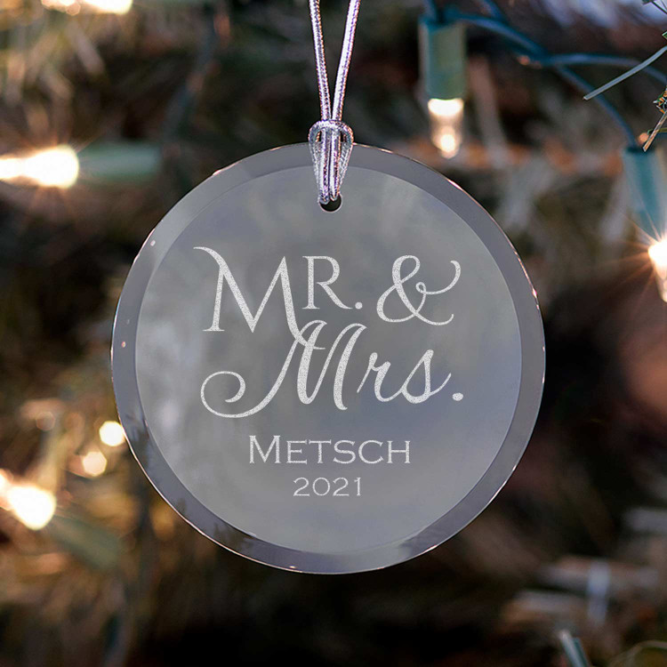 Personalized Mr. & Mrs. Ornament on Tree
