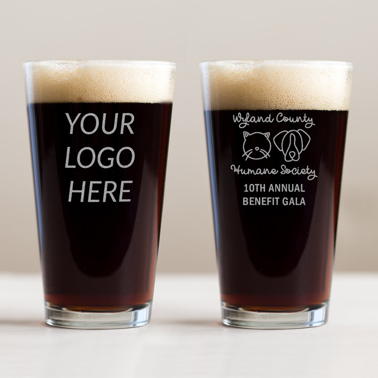 Custom engraved pint glasses with your logo or artwork