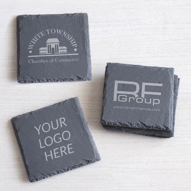 Bulk Custom Engraved Slate Coaster with Logo