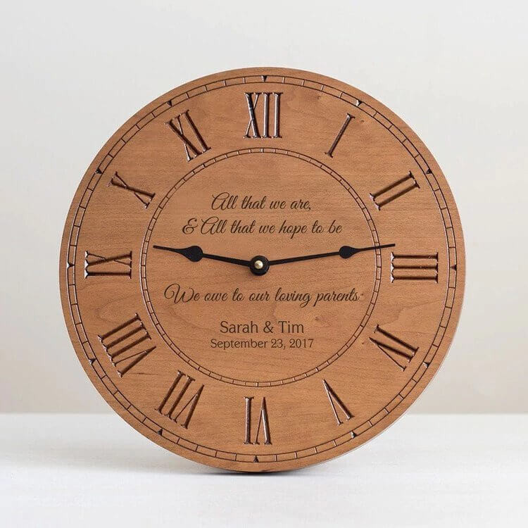 Personalized Parents of Bride & Groom Wood Clock