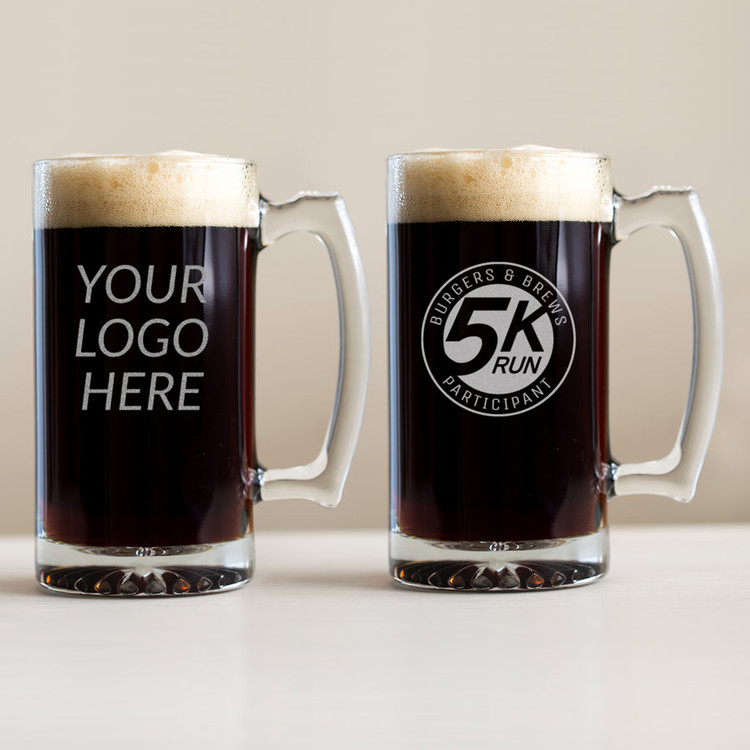 Custom Engraved Beer Mug with Logo