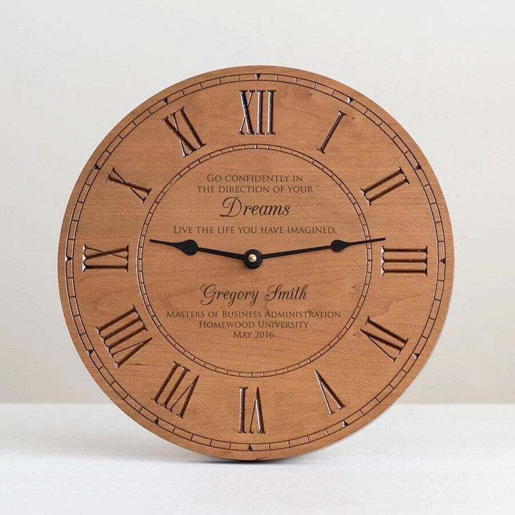 Personalized Graduation Wood Clock Gift for Doctor or Lawyer