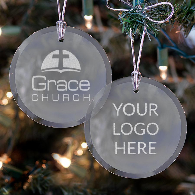 Custom Logo Glass Ornament - Silver Bow (Bulk)