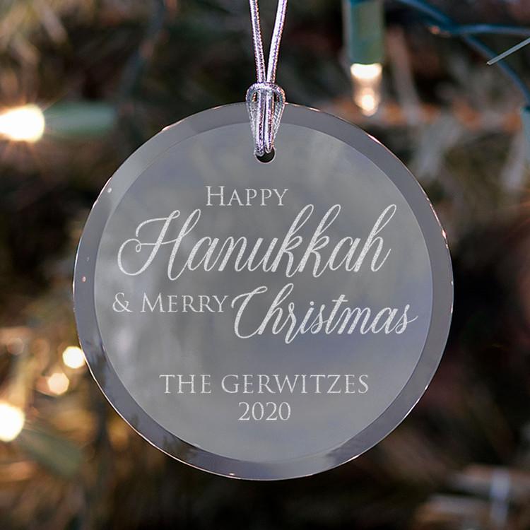 Personalized Happy Hanukkah & Merry Christmas Ornament