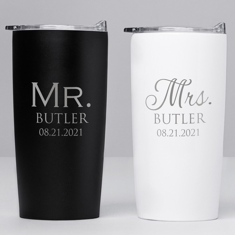 Personalized Mr. & Mrs. Stainless Steel Tumblers