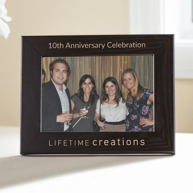 "Custom Engraved Picture Frame with Logo (""Black"")"