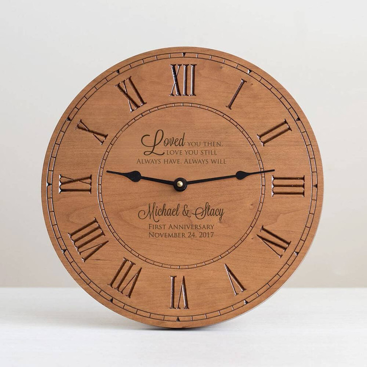 Custom Engraved Anniversary Wood Clock
