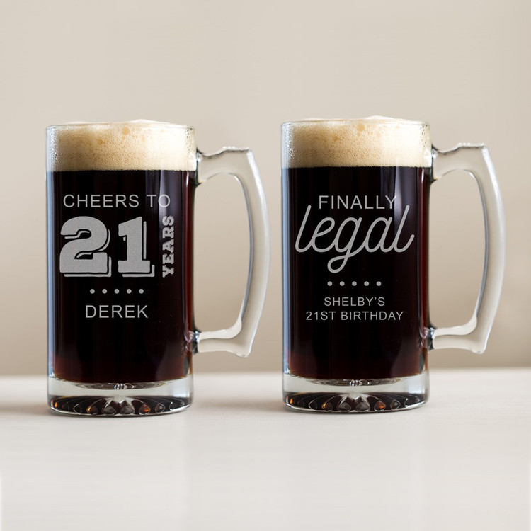 Personalized 21st Birthday Beer Mug